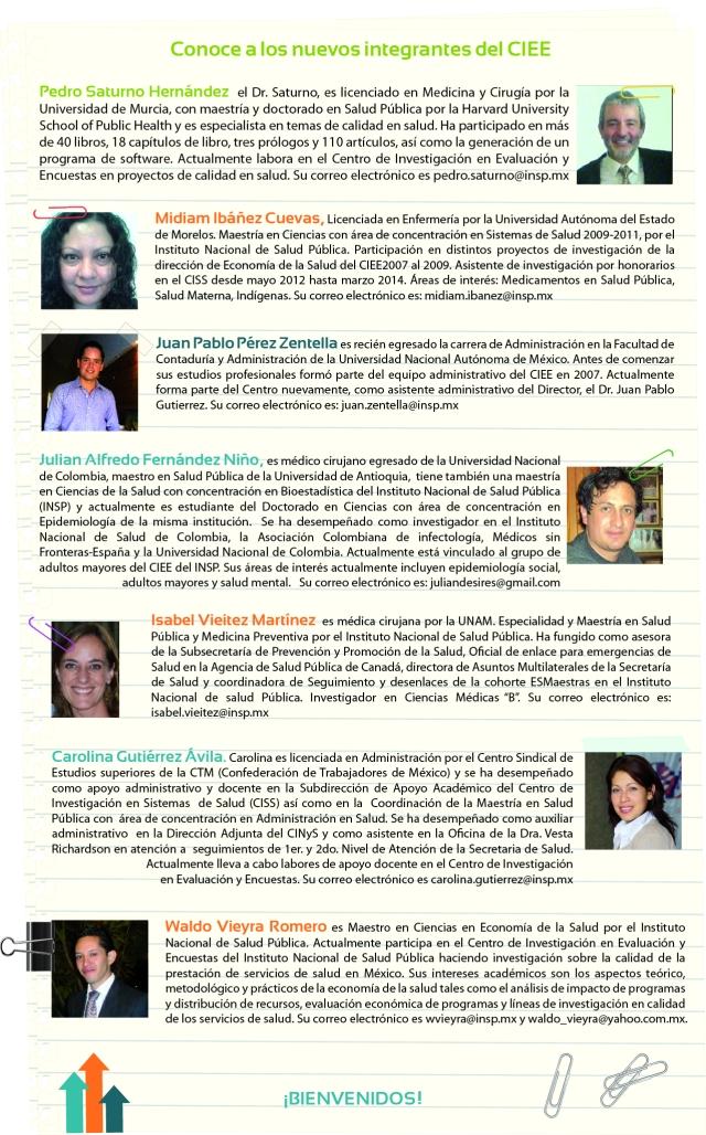 postal bienvenida nuevos integrantes CIEE 2014